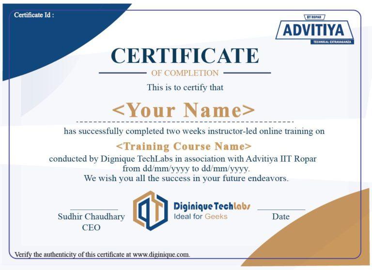 15 Days Training Certificate- Sample